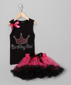 Look what I found on #zulily! Black 'Birthday' Tank & Pettiskirt - Infant, Toddler & Girls by So Girly & Twirly #zulilyfinds