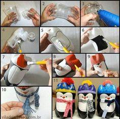 Simpático pingüino navideño realizado con botellas plásticas y pintado a mano.