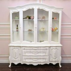 Shabby Cottage Chic White French Style China Cabinet Hutch Roses Vint…