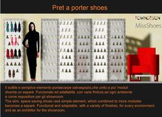 """MissShoes Pret ,a porter shoes Una quinta """"forata"""" porta scarpe che consente di posizionarle (con un minimo di tacco ) ovunque si voglia,inserendo e poggiando il tacco all'interno ,sul retro sono disposte due alette di metallo o legno di 5 cm che consentono di fissare il pannello al muro,mentre applicando delle cerniere laterali da incluse nella confezione,due o piu' pannelli possono essere uniti tra loro per ottenere un simpatico separè. In questo modo,le scarpe saranno sempre in vista ed a…"""