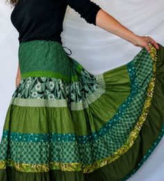 Long Gypsy Patchwork Skirt with Modified Bustle or by 1000Colors