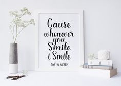 Justin Bieber quote, U smile, I Smile song lyric art, wall art, print, Purpose album, dorm room decor, dorm decor,justin bieber quote,prints von sweetandhoneyprints auf Etsy