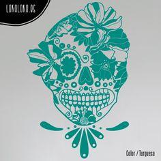 #Vinilodecorativo de una #calaveramexicana con flores / #Mexicanskull #wallsticker with flowers