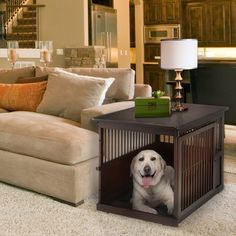 Richell's wooden end table crate functions as an end table and dog crate. Vents provide an all sides view and best air flow. Includes a tray for easy cleaning