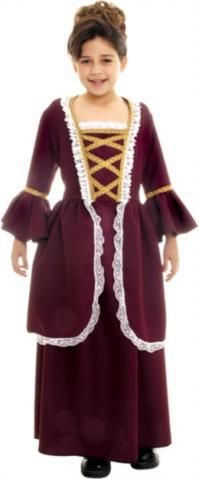 About Costume Shop Colonial Girl Child Costume - Colonial GirlChild CostumeMarvelous Dress For Any Young Lady!Costume includes: Long dress with traditional lace and gold trim. Available sizes: Small Medium Large sold separately.Product Page Burgundy Dress, Brown Dress, Lace Dress, Dress Up, Girl Costumes, Halloween Costumes, Children Costumes, Party Costumes, Costume Shop