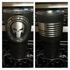 Custom black yeti cup with American Flag