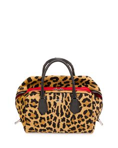 Calf Hair & Ostrich Medium Inside Bag, Leopard/Red/Black (Miele Fuoco Nero), Women's, Leopard Red - Prada