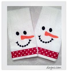 Snowman towels to warm any heart. Design from Embroidery Garden http://www.embroiderygarden.com/shop/towel-leg-designs/snowman-boots-towel-snoh126.html