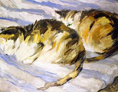 """Franz Marc - """"Two Cats (also known as Study of Cats II)"""" - Oil On Canvas, 1909 - (Private collection)"""