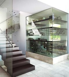 Wine Cellars & Alcohol Design Ideas For Big & Small Spaces Alcohol Storage, Liquor Storage, Glass Wine Cellar, Home Wine Cellars, Caves, Wine Cellar Basement, Home Music Rooms, Recessed Shelves, Wine House