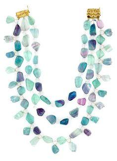 Tony Duquette (American, 1914-1999), 1990s. A fluorite, quartz and vermeil necklace