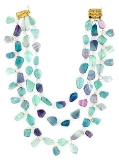 Tony Duquette (American, 1914-1999), 1990s. A fluorite, quartz and vermeil necklace