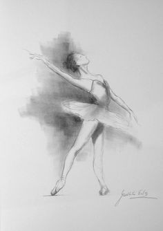 ... pencil drawing 12 x 8 on WHITE paper of BALLERINA by Ewa Gawlik