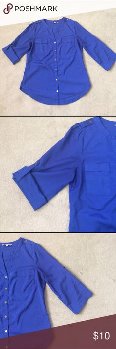 Blue Shirt Blue shirt, in great condition, only worn maybe three times.  Sleeves can be worn folded or straight (see pictures). Material is 100% polyester. 41 Hawthorn Tops Blouses