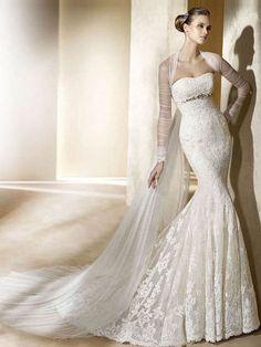 Luxury Trumpet / Mermaid Sweetheart Floor-length Lace White Wedding Dresses    Item Code: 121842