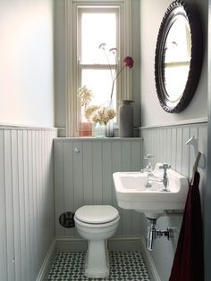Small toilet room - Space Saving Toilet Design for Small Bathroom – Small toilet room Cottage Bathroom, Space Saving Toilet, Bathroom Interior, Small Bathroom, Tongue And Groove Panelling, Bathrooms Remodel, Small Toilet Room, Bathroom Design Small, Small Bathroom Decor
