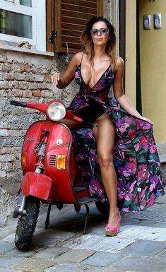 Vespa Girl, Scooter Girl, Pin Up, Harley Davidson, Bollywood Actress Hot Photos, Hot Bikes, N Girls, Biker Girl, Motorcycle Girls