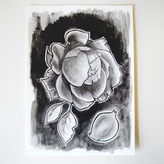 Black Ink Watercolor Painting - Wilted Rose