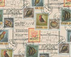 AS Creation Postage Stamp Pattern Bird Fish Motif Vinyl Wallpaper 958991 Vinyl Wallpaper, Room Wallpaper, Wallpaper Roll, Wildlife Wallpaper, Latest Design Trends, Botanical Wallpaper, Vinyl Designs, Postage Stamps, Vintage World Maps