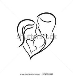 Woman, manand their child, vector symbol in simple lines - buy this vector on Shutterstock & find other images. Tattoo For Son, Tattoos For Kids, Family Tattoos, Tattoos For Daughters, Trendy Tattoos, Tattoos For Women, Pencil Art Drawings, Easy Drawings, Drawing Sketches
