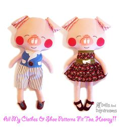 """This sewing pattern is to make a stuffed toy Pig that is 18"""" (45.7 cm) tall (excluding ears), child friendly, and oh sew cute from cotton and felt fabrics. My versatile pattern allows you to make both Pretty girlie Piggies and Porky boy Pigs and comes with a 17 page easy to follow photo and instructional tutorial, with helpful doll making tips & tricks, and an easy felt face and embroidery template. All of my doll patterns will provide you with a high quality finished doll, with no visibl..."""
