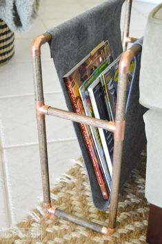 DIY Copper Magazine Rack for The Home Depot Gift Challenge - Table & Hearth