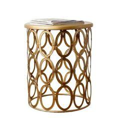 Abbyson Living Coronado Metal Round End Table in Gold Abb...