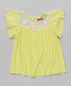 Look what I found on #zulily! Yellow Angel-Sleeve Top - Toddler & Girls #zulilyfinds