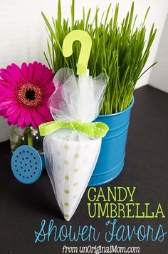 image of umbrella favors for a baby shower