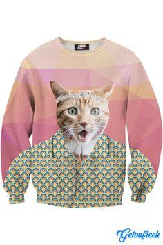 Button Up Cat Crewneck - Shop our entire collection of Cat Apparel! www.getonfleek.com