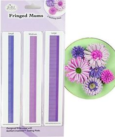 The fringed mums quilling dies make the perfect sized flowers to compliment your quilling.  Includes three long dies for small, medium and large mums.