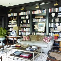 Modern Black Bookcase Styling Ideas For Inspiration Furniture, House, Cozy Home Library, Interior, Home, Black Bookcase, Home Libraries, House Interior, Interior Design