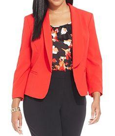 39602e5a143 Nine West Women s Plus-Size Long Sleeve Kiss Front Suit Jacket