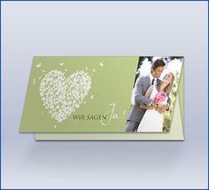 """Hochzeitseinladungskarte """"Butterfly-Herz Lang"""""""