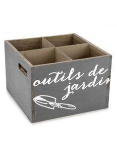 Boite déco. grise OUTILS DE JARDIN