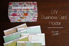 Organize your business cards with this #DIY Business Card holder - http://www.livingyourcreative.com/2014/01/diy-business-card-holder/