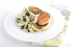 Salmon with Fennel Two Ways and Cauliflower Steak