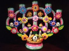 Mexican Folk Art Day Of The Dead Skull Tree Of Life Pottery Candle Holder!