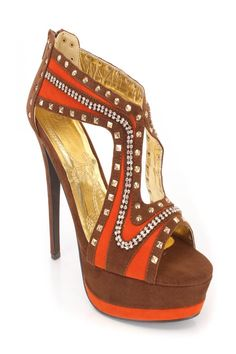 Brown Orange Rhinestone 6 Inch High Heels Faux Suede
