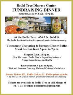 Honolulu, HI The Bodhi Tree is celebrating five years of service to the community. Vietnamese Vegetarian & Burmese Dinner Buffet Silent Auction from 5-7pm. Program 7pm-8pm. New Horizons: Bodhi Tree's Expan… Click flyer for more >>