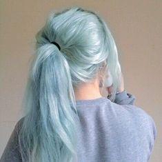 Hair Dye Colors, Hair Color Blue, Medium Scene Hair, Hair Medium, Light Blue Hair, Pastel Hair, Pastel Mint, Aesthetic Hair, Dyed Hair