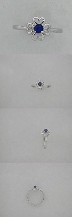 Rings 98477: Heart Ring Natural Sapphire Solid 10Kt White Gold -> BUY IT NOW ONLY: $75 on eBay!