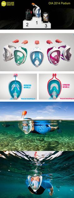 """now in stores: EASYBREATH SNORKELING MASK """"TRIBORD"""" france, The Easybreath mask won the Oxylane Innovation Awards 2014."""