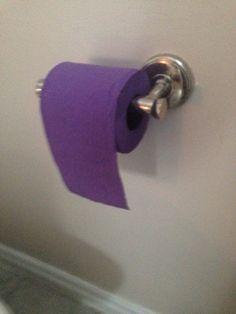 My girlfriend's aunt has purple toilet paper.