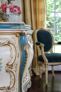 FRENCH COUNTRY COTTAGE: Floral sideboard~ favorite things #countryfrench