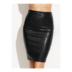 SheIn(sheinside) Black Faux Leather Skinny Skirt (170 ZAR) ❤ liked on Polyvore featuring skirts, black, short pencil skirt, stretch skirts, knee length pencil skirt, stretch pencil skirt and pencil skirt