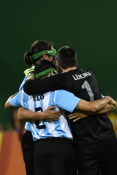 Players of Argentina celebrate scoring  during the Men's Football 5-a-side between Argentina and Mexico at the Olympic Tennis Centre on Day 2 of the Paralympic Games on September 9, 2016 in Rio de Janeiro, Brazil.