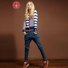 2014 New Autumn Striped Sweater Cardigan