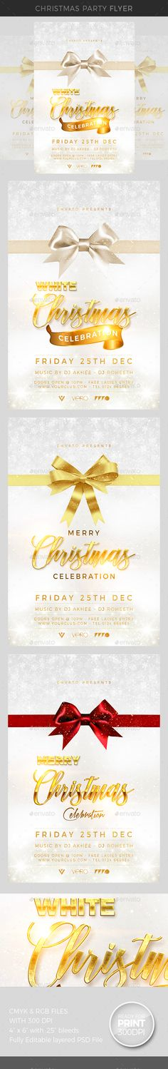 """Christmas Party - Events Flyers File Feature: Hight Quality Graphics 4""""x6"""" with .25"""" bleed 300 DPI CMYK & RGB Files Easy Customisable Text Organised & Coloured Group Layers Fonts & other details included in help file Help File"""