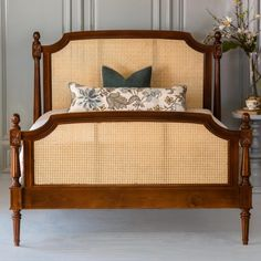 The Camille Cane Bed is crafted after the style of Lovely Louis XVI. With its intricate handcrafted details and caned construction, the Camille Cane Bed is a romantic addition to your home. Bedroom Furniture, Home Furniture, Wicker Furniture, Antique Furniture, Steel Bed Frame, Bed Company, Bedding Master Bedroom, Simple Bed, Wood Beds